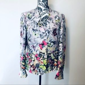 Basler Colorful Butterfly Button Up Blazer
